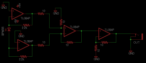 "Figure 13: Circuit schematic of differential transimpedance amplifier ""h2."""