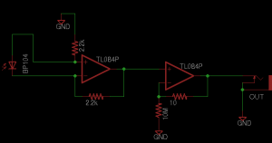 "Figure 5: Circuit schematic of differential transimpedance amplifier ""g1."""